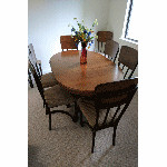 SOLD dining table and 8 chairs together - $250